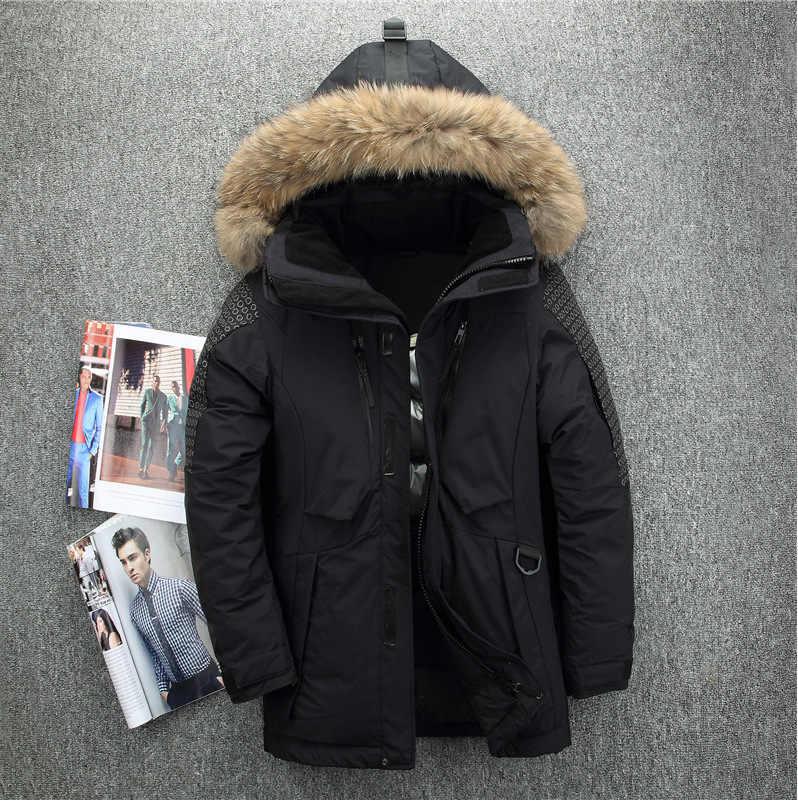 Hombre Abrigos poliéster chaquetas de invierno gruesa Casual prendas de abrigo a prueba de viento guapo-20C caliente Regular Parkas y abrigos con capucha