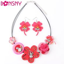 Bonsny Brand Fabric HANDMADE Statement Flower Necklace Earrings Jewelry Sets Choker Collar Fashion Jewelry For Women News Design(China)