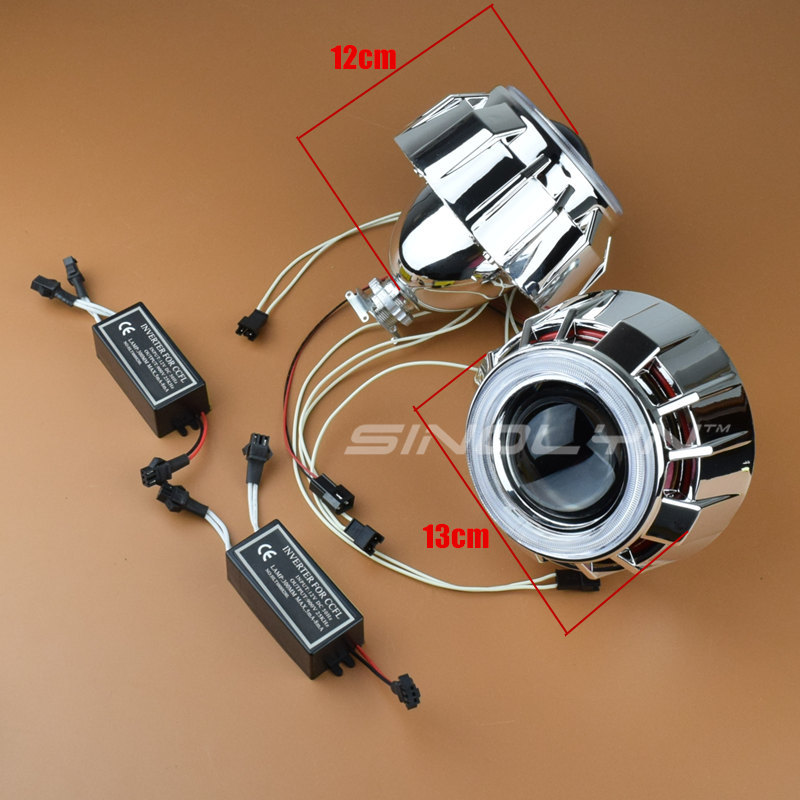 Sinolyn 2.5 CCFL Double Dual Angel Eyes Halo Lenses For the Headlights HID Bi-xenon Projector H1 H4 H7 9005 9006 Car Styling