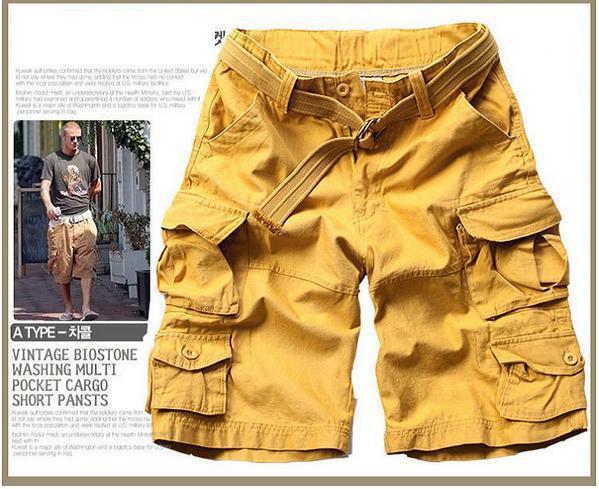 Новинка, Летний стиль, мужские повседневные армейские камуфляжные шорты Карго, хлопковые короткие штаны, военные камуфляжные модные шорты, мужские пляжные шорты - Цвет: Цвет: желтый