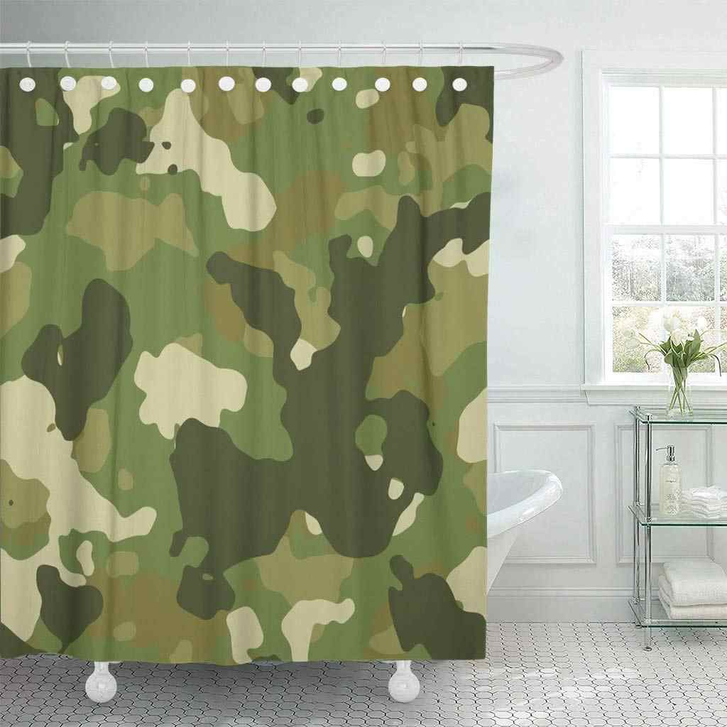 Fabric Shower Curtain with Hooks Beige Camoflauge Green Woodland Camouflage Pattern Brown Military Army Abstract Camo