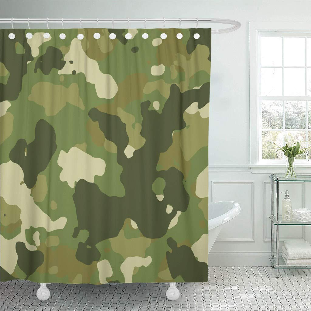 Us 18 73 25 Off Fabric Shower Curtain With Hooks Beige Camoflauge Green Woodland Camouflage Pattern Brown Military Army Abstract Camo In Shower