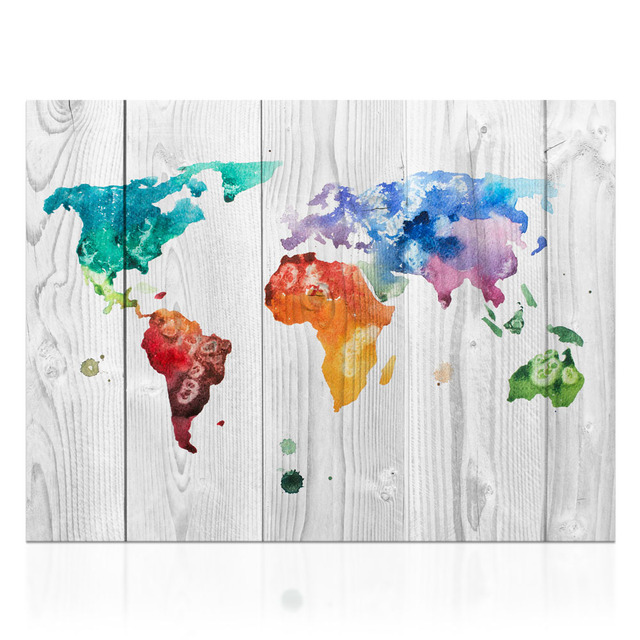 HD Piece Colorful World Map On Canvas Modern Home Wall Decor Map - Colorful world map painting