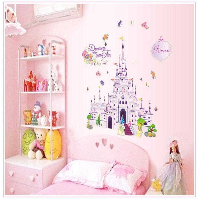 Cartoon droom kasteel prinses muursticker vinyl waterdichte sticker woondecoratie voor kinderen - Kamer van water m ...