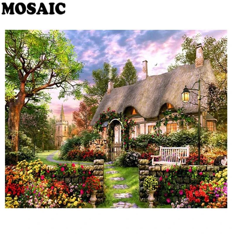 House Decoration Diamond Painting Full Round Drills Landscape Designs DIY Mosaic