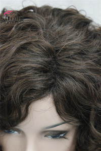 Image 4 - StrongBeauty Short Thick Dark Brown with Highlights Super Curly Layered Full Synthetic Wig for Women