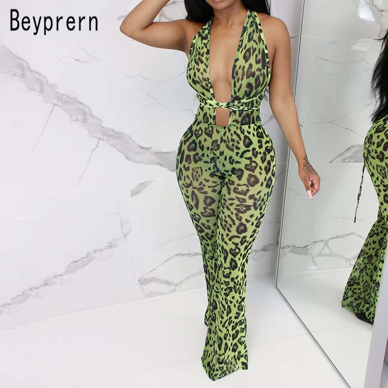 Beyprern Wild See Through Leopard Print Bodycon Mesh Jumpsuits Sexy Deep V Neck Bandage Mesh Romper Festival Outfits Wholesale(China)