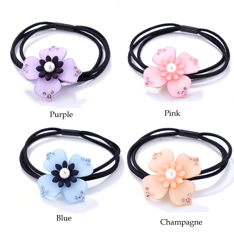 Flower New Fashion Rubber Bands Imitation Crystal Decorative Handmade Braid Hair Rope for Girls Ponytail Holder Accessories Gift