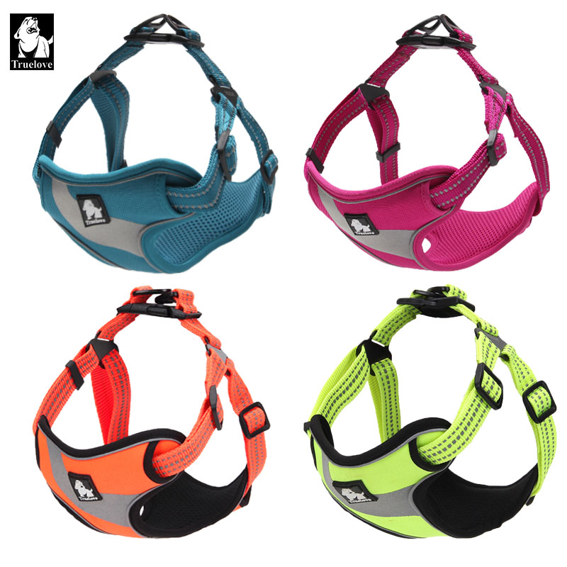 Truelove Adjustable Easy on Dog Pet harness Outdoor Adventure Reflective Dog Halter Protective Nylon Walking Dog Harness Vest