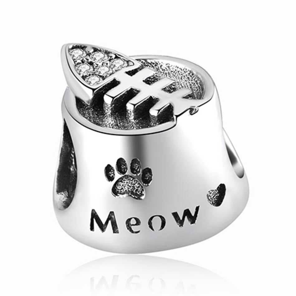 b4bc8b7b7 ... Crystal I Love My Dog Bone Pendant Cat Bowl Meow Butterfly Beads  Authentic 925 Sterling Silver
