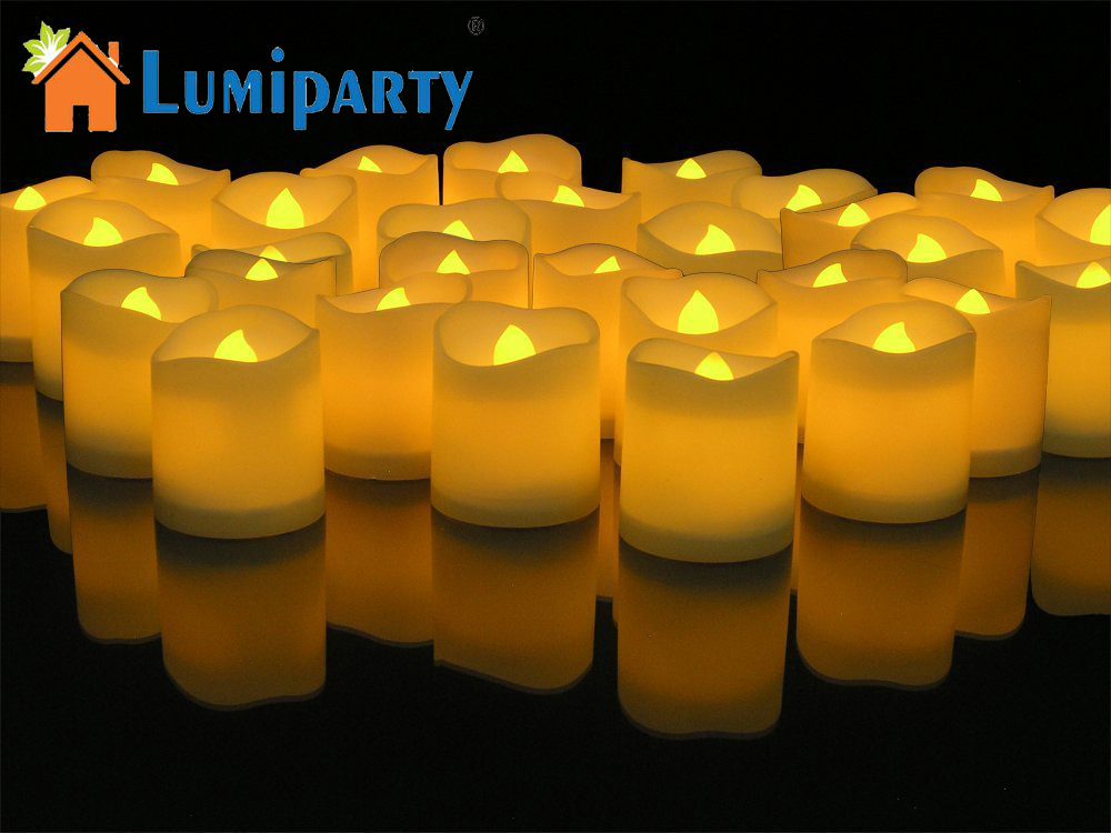 LumiParty 24pcs LED Tealight Flickering Votive Style Flameless Candles Church and Home Decoartion and Lighting