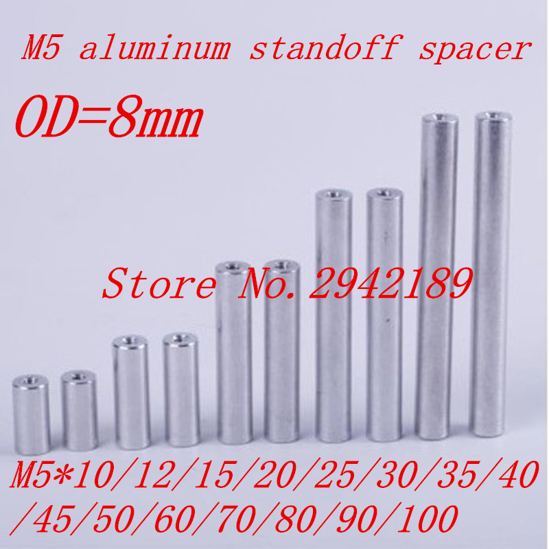 10pcs/lot M5 aluminum round spacer standoff M5*10/12/15/20/25/30/35/40/45/50/60/70/80/90/100  плавкий предохранитель roc 50 m5 spacer
