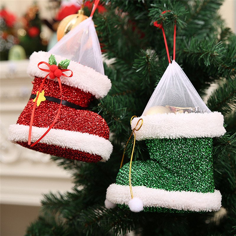 Christmas Boots Design Flocked Shoe Creative Christmas Tree Hanging Ornament Cute Gift Candy Bag For Party Xmas NEW Year 14*16cm