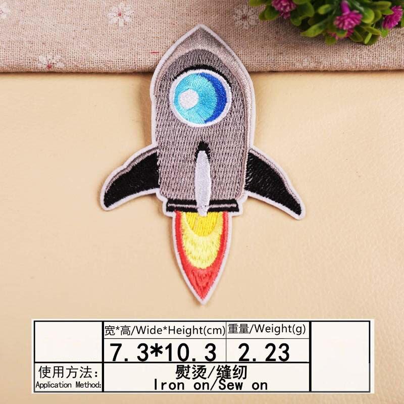 Космонавты и ракеты планета вышивка патч теплопередачи железа на пришить патчи для DIY Наклейка на одежду декоративная аппликация 47233 - Цвет: A