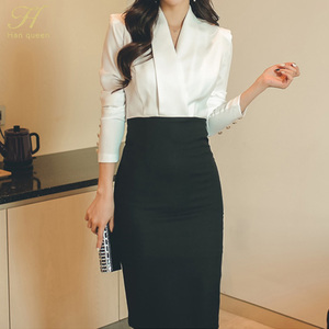 Image 4 - H Han Queen Solid Patchwork Korean Sheath Pencil Autumn Dress Women 2018 Official Wear Bodycon Dresses Casual Business Vestidos