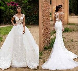 Image 2 - Illusion Terug Sheer Hals Israël Mermaid Wedding Dress Afneembare Trein 2 in 1 Nieuwe Ontwerp Bruid Jurk 2019 Bruidsjurken w0326