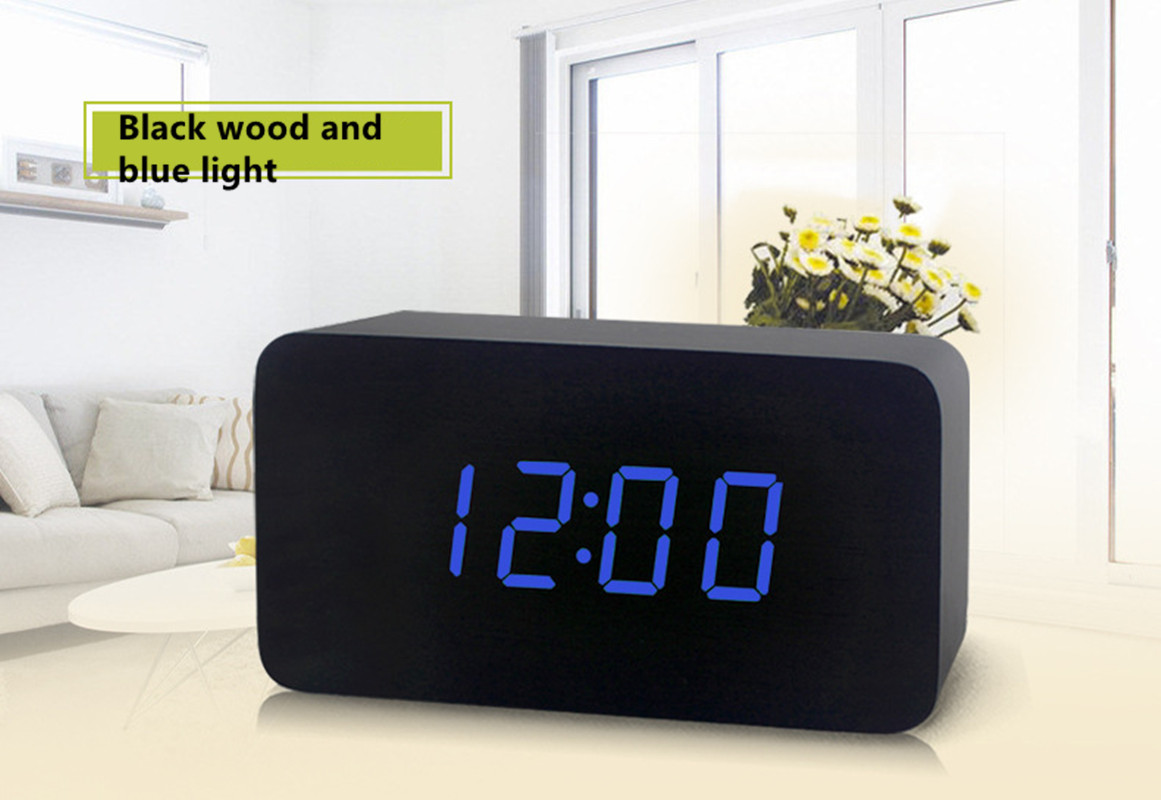FiBiSonic Modern Design Wooden LED Digital Alarm Clock Desktop Multi-function Temperature Wood LED Digital Clock Cheap Clock