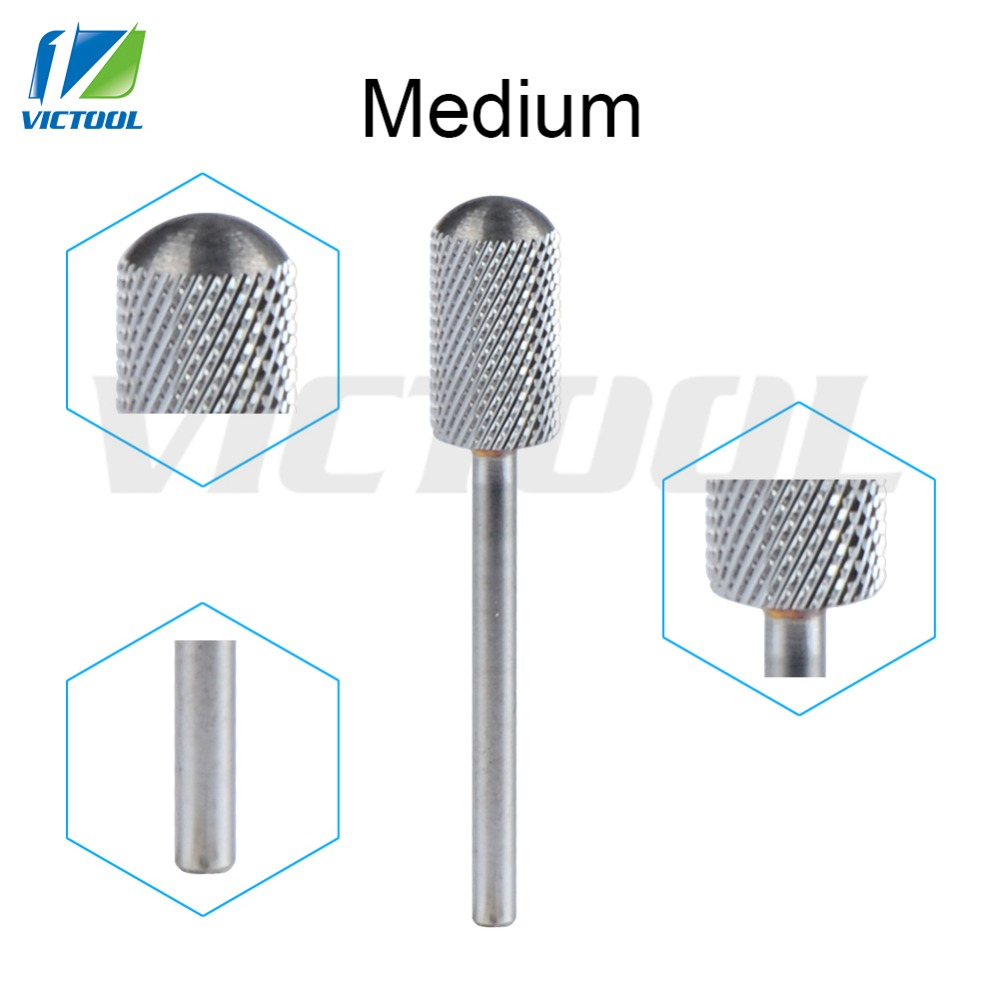 Tungsten Steel Nail Bits Medium Smooth Round Top For Electric Manicure Pedicure Machine Grinder Nail