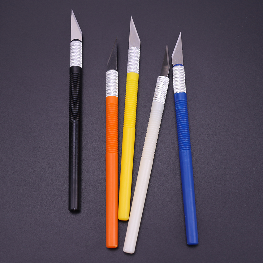 6 Blades Plastic Handle Scalpel Blade Knife Wood Paper Cutter Craft Pen Engraving Cutting Supplies DIY Stationery Utility Knife 3
