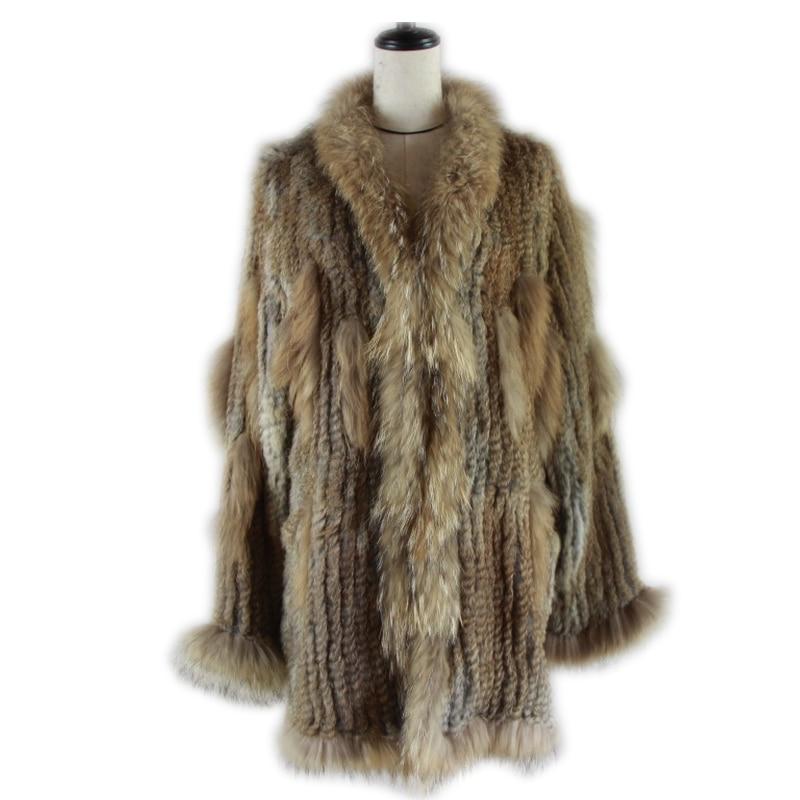 Women Knitted Real  Rabbit Fur Coat Overcoat Garment & Raccoon Collar With Hood Raccoon Fur Knitted Longer Jacket Italy Style