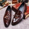 Кисточка Крокодил Обувь Мокасины Мужчины Обувь Повседневная Мужчин Тисненая Кожа Обувь Мужчины Квартиры Мокасины Проскочить На Красный Черный Желтый