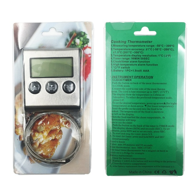 MOSEKO YS-05 Digital Food Meat Cooking Kitchen Thermometer for Smoker Grill Oven BBQ Clock Timer with Stainless Steel Probe