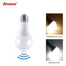 12 W Ampul LED E27 B22 Akıllı LED Gece Lambası PIR Hareket Sensörü Ile AC 85 265 V Işık ampul Merdiven Koridor Açık Sundurma Garaj