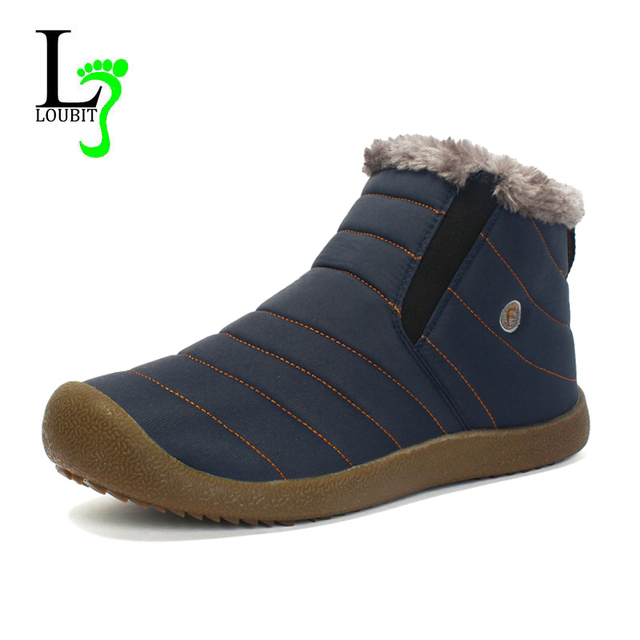 2019 Men Boots Waterproof Winter Warm Casual Shoes Men Loafers With Fur Flats Male Ankle Snow Boots Hombre Botas Plus Size 48