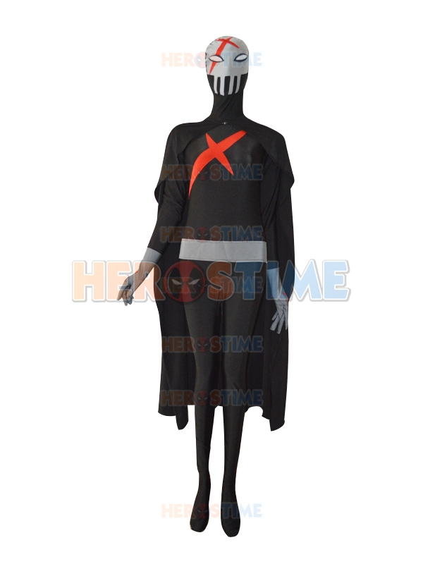 Red X Teen Titans Spandex Costume Custom Made Anti-hero Cosplay Costume Gray and Black Superhero Costume With Cape