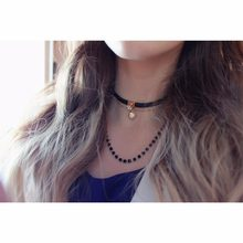 eManco Stylish Multilayer Tattoo Choker Necklaces for Women Black Crystal Rope Wax Chain Clover Pendants Brand Jewelry(China)