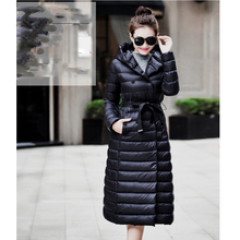 Плюс Размер S-6XL Пальто 2016 Высокое Качество Зимняя Куртка Мода женский X-Long Белая Утка Вниз Парки Пальто Толстые Капюшоном Вниз пальто