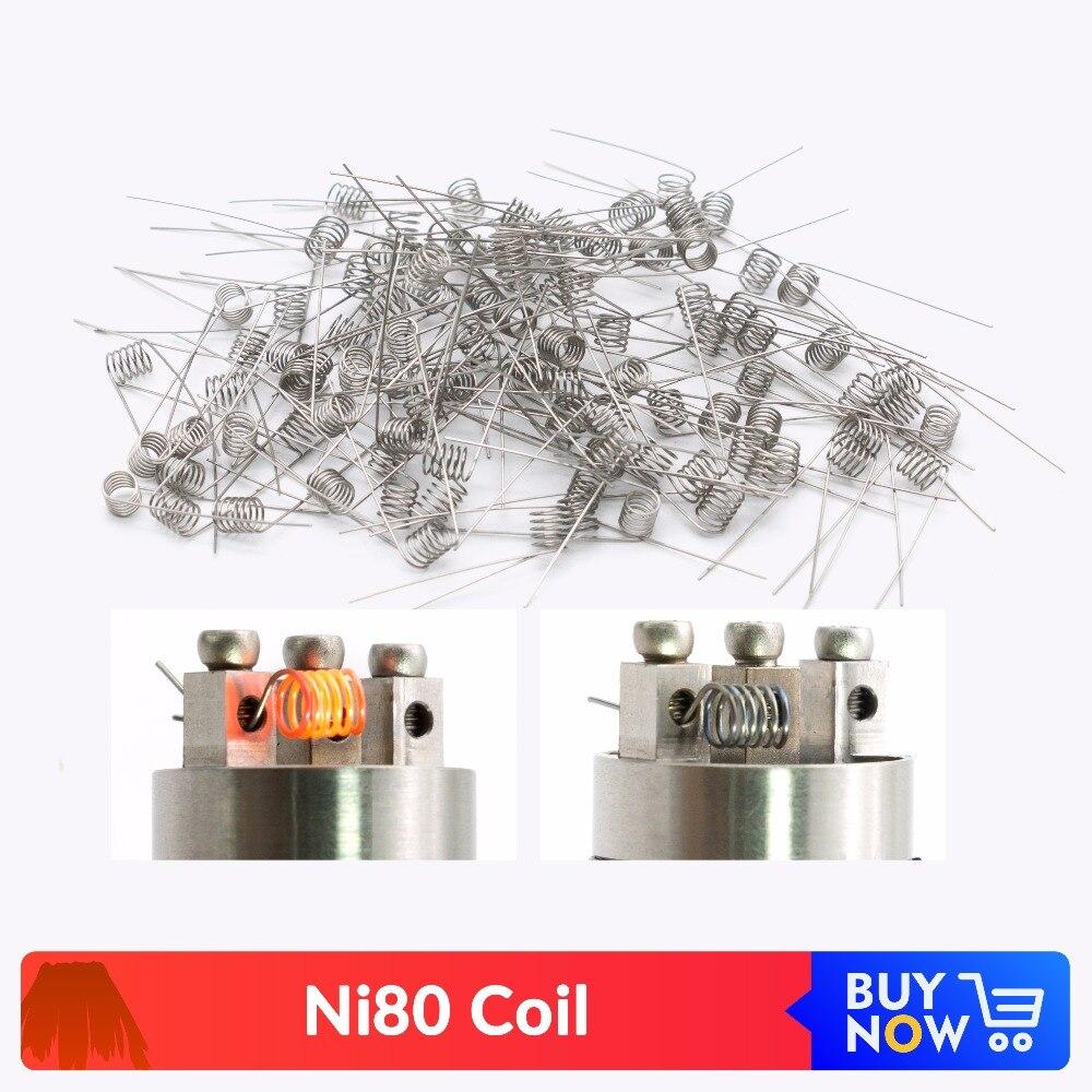 Volcanee 100pcs Ni80 Prebuilt Heating Coil Vape 20 22 24 26 28 30GA Premade Coil Wire For E Cigarette RDA RBA Atomizer