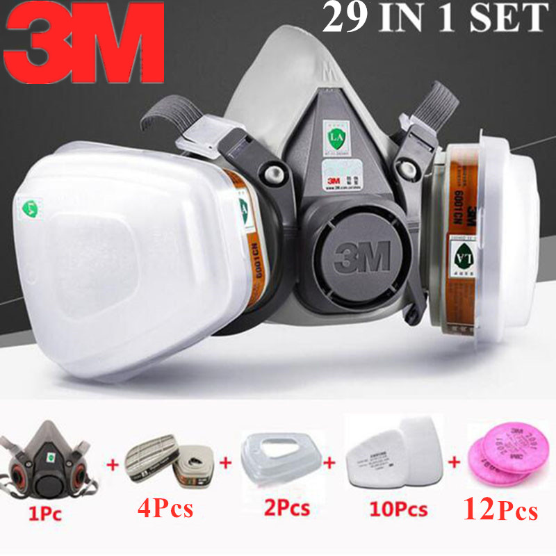 29 In 1 <font><b>3M</b></font> 6200 Half Painting Spray Gas Mask Protection Respirator <font><b>6001</b></font> Organic Vapor <font><b>Cartridge</b></font> Safety Work Filter Dust Mask image
