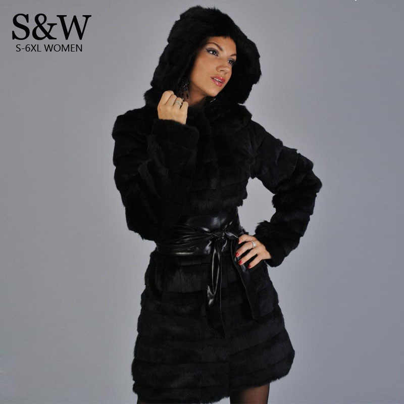 a4e0120106f Black White XXXL 4XL 5XL Plus Size Women Faux Fur Coat Hood Stripe Section  Long
