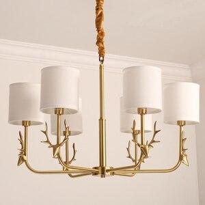 Американский стиль Медный светодиодный подвесной светильник с рогом оленя инструментальный рога Медный Подвесной светильник E14 Светодиод...