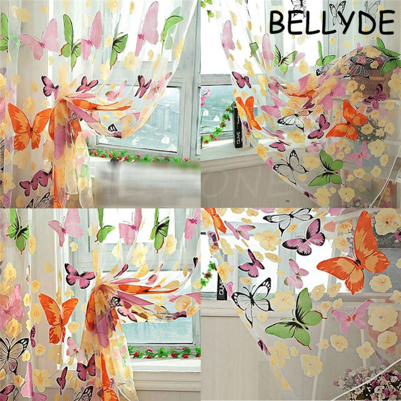 Worldwide Decoration Store Store Home Decor Romantic Bedroom Cheap Ready Made Finished Organza Child Window Cortina Butterfly Print Curtain for Living Room