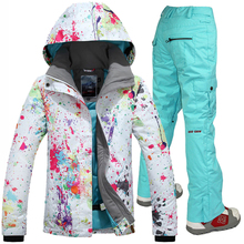 Gsou Snow 2017 new ski jackets and pants women skiing suit sets ski suit snowboarding set windproof waterproof skiing clothes