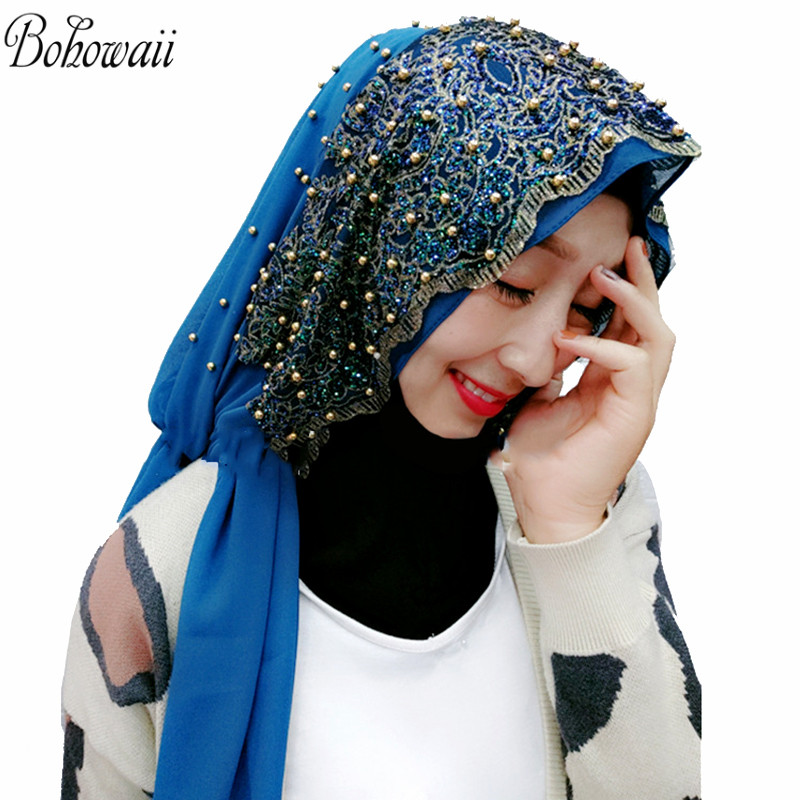 BOHOWAII Muslim Hijab Chifon Scarfs for Women Long Headscarf with Bead Head Wrap Hoofddoek Moslima Islamic Prayer Turbante Mujer