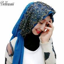 מוסלמי חיג אב צעיפים לנשים ארוך שיפון מטפחת עם חרוז Hoofddoek Moslima האסלאמי תפילה Turbante Mujer