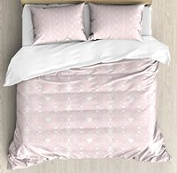 Pink and White Duvet Cover Set Victorian Style Girly Feminine Pattern with Curly Leaves Hearts and Flowers 4 Piece Bedding Set
