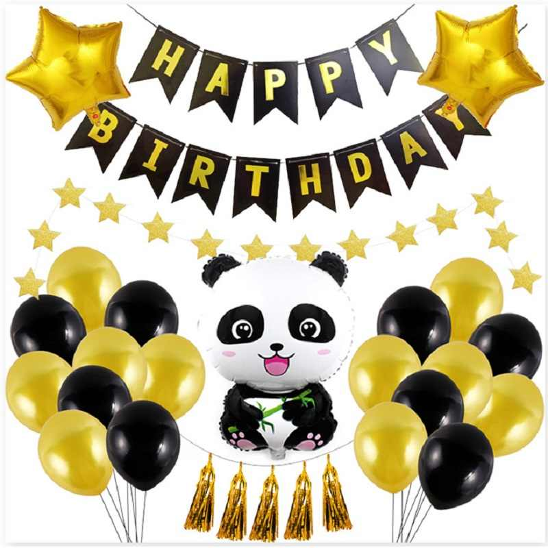 Panda บอลลูนวันเกิด happy Birthday Party ตกแต่ง Kung fu Panda Party Decor Panda Theme Party