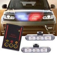 2x 3/Led Ambulância Polícia 12V Car Luz Intermitente Bombeiros Luzes DC luz Azul Strobe luz de Advertência do Carro-Styling