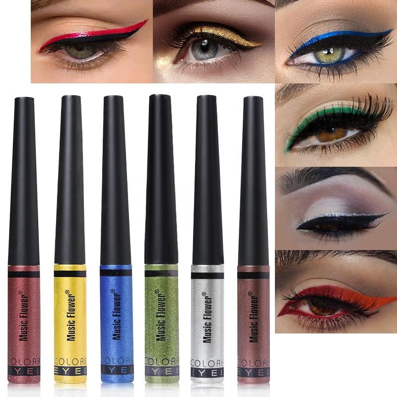 US $1 99 35% OFF|Music Flower Brand Shimmer Liquid Eyeliner Waterproof Long  Lasting Makeup Brightening Glitter Eye Liner Pencil Cosmetics Pen-in Eye