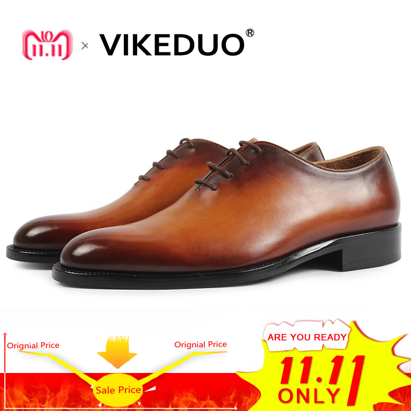 VIKEDUO 2018 nueva marca hombres Oxford Zapatos de cuero genuino Hombre calzado hecho a mano boda Oficina Formal Patina Zapatos Hombre