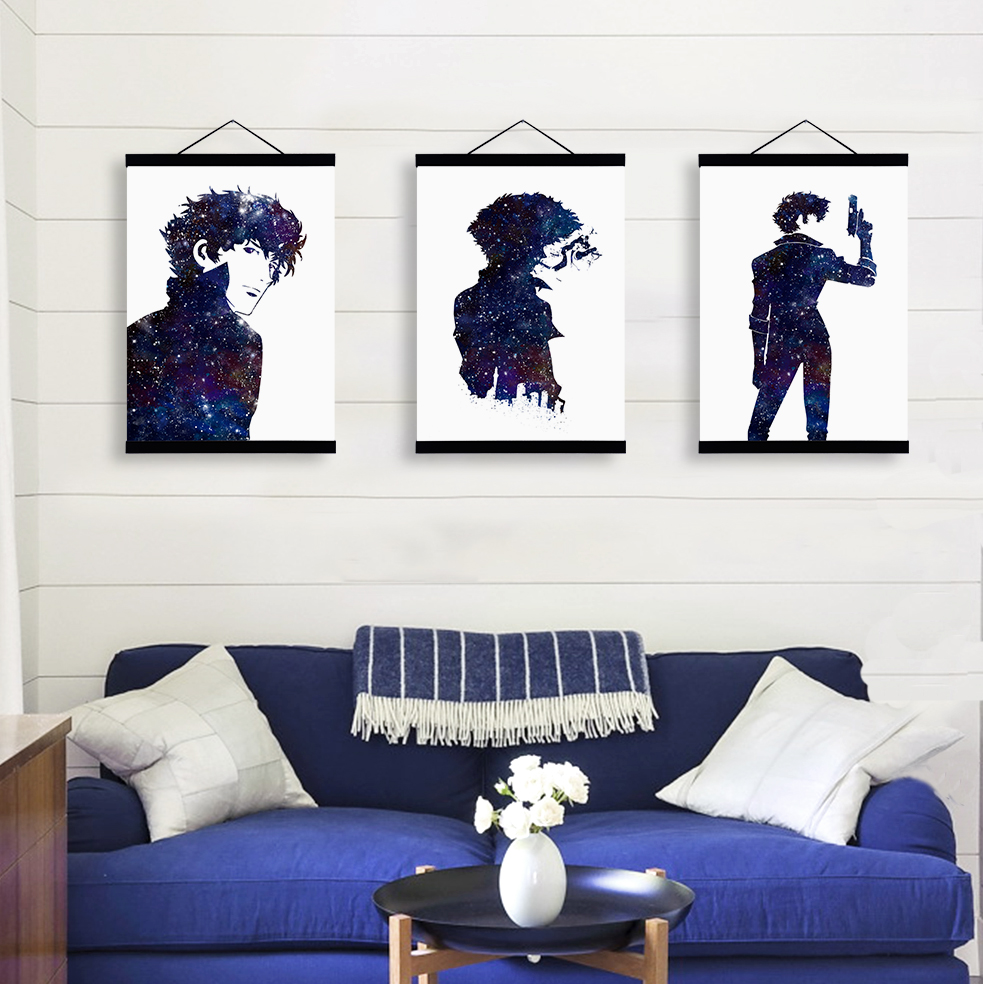 Modern watercolor japanese anime cowboy bebop wooden framed canvas paintings kids room home decor wall art print pictures poster