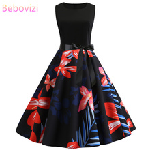 Bebovizi Women New 2019 Summer Casual Elegant Plus Size Tank Bandage Dress Black Patchwork Prin Vintage Sexy Party White Dresses