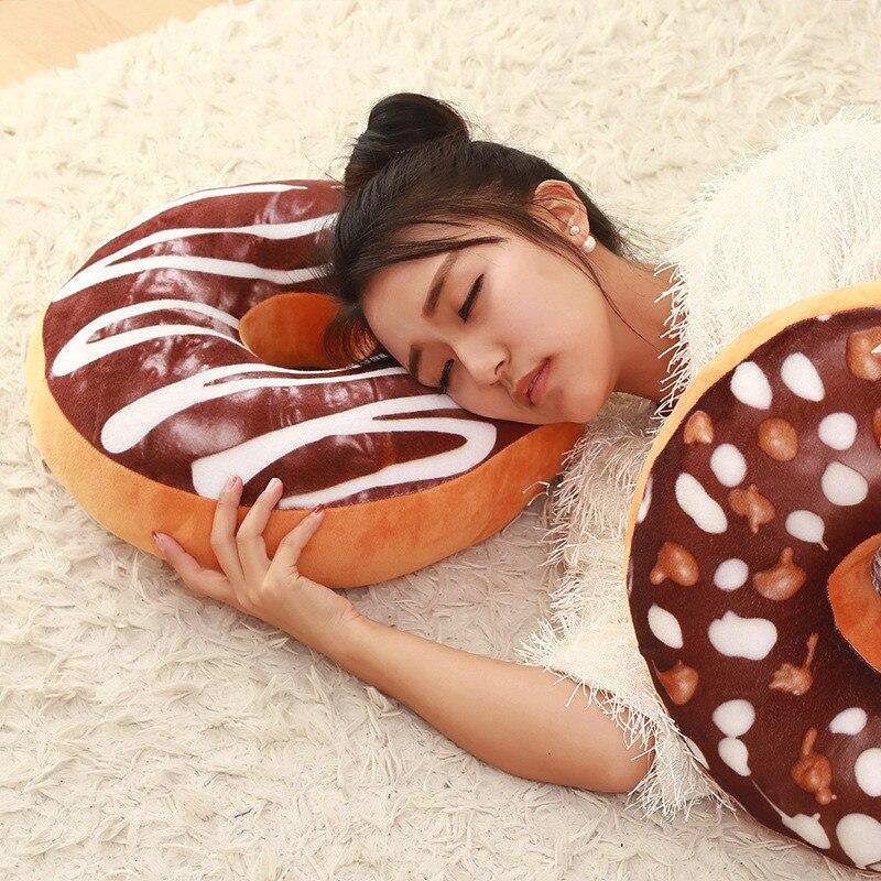 1Pcs Sofa Decorative Cute Simulation Cushion Soft Plush Pillow Seat Pad Without Stuffed Sweet Donut Foods Cushion Case