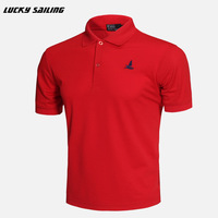 Male Summer Plus Size Quick Dry Polo Shirt Turn Down Button Emboridery Logo Thin Soft Short