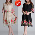 Free shipping-National summer trend peony embroidery high quality silk chiffon one-piece dress slim plus size clothing