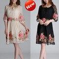 Vestido de la gasa de seda bordado, peonía tendencia nacional del verano de una sola pieza delgado